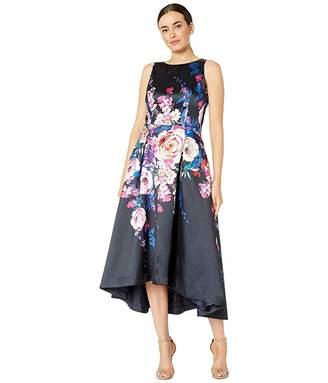 Tahari ASL Sleeveless Printed Floral Mikado High-Low Hemline