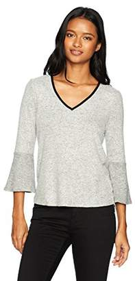 Amy Byer A. Byer Long Sleeve V-Neck Knit Top with Tie Back (Junior's)