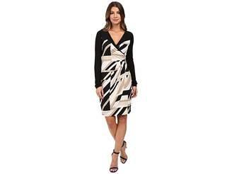 Laundry by Shelli Segal Printed Matte Jersey Faux Wrap Dress with Mesh Detail Women's Dress