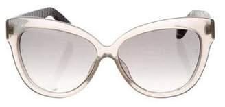Linda Farrow Snakeskin-Trimmed Cat-Eye Sunglasses