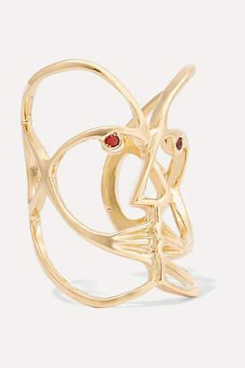 Paola Vilas - Klee Gold-tone Garnet Ring