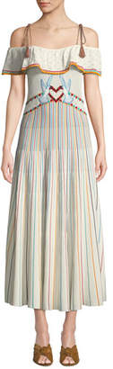 RED Valentino Long Off-the-Shoulder Multicolor Striped Yarn Dress