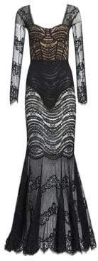 Jonathan Simkhai Women's Mixed Lace Bustier Gown - Black - Size 4