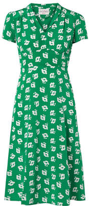 Morgan HVN Floral-print Silk Crepe De Chine Midi Dress