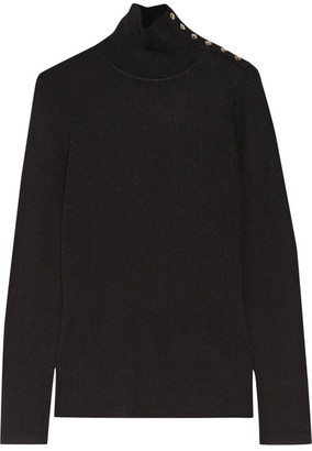 Burberry - Button-detailed Ribbed Wool Turtleneck Sweater - Black $450 thestylecure.com