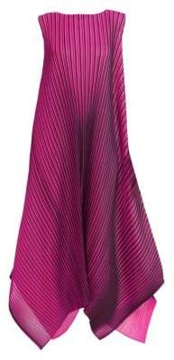 Pleats Please Issey Miyake Women's Pleated Maxi Dress - Neon Pink - Size 1 (XS)