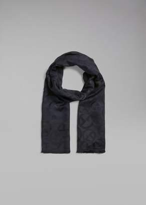 Giorgio Armani Scarf In Jacquard Fabric With Ga Logos