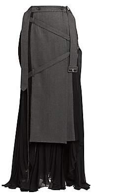 Rokh Women's Pleated Wool-Blend Wrap Skirt