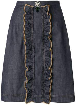 No.21 ruffled denim skirt