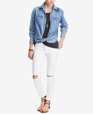 Denim & Supply Ralph Lauren Star-Embroidered Cotton Chambray Shirt $125 thestylecure.com