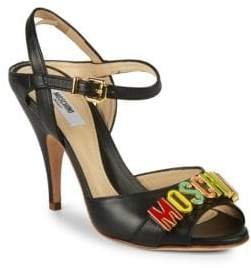Moschino Logo Leather Ankle-Strap Sandals