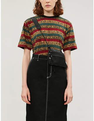 Stussy Striped logo-print cotton-jersey T-shirt