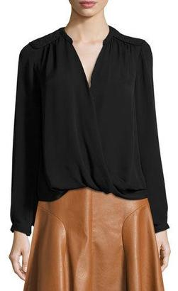 Rebecca Taylor Danielle Silk Surplice Wrap Top, Black $295 thestylecure.com