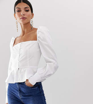 Missguided Tall square neck peplum top in white