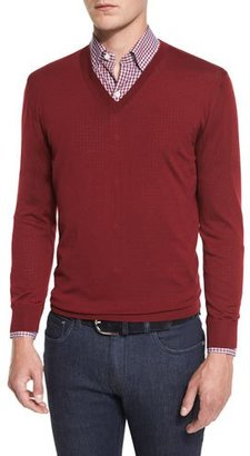 Ermenegildo Zegna High-Performance Merino Wool V-Neck Sweater, Red $595 thestylecure.com