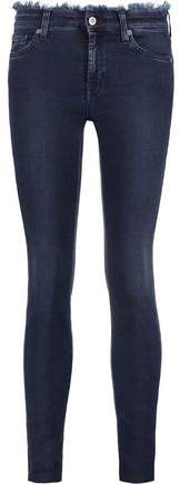 Frayed Cropped Mid-Rise Skinny Jeans