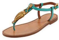 Flat Leather Thong Sandals with Scarab Ornament