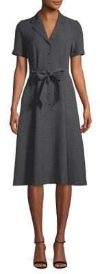 Anne Klein Heathered Belted Shirtdress