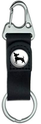 Generic Chihuahua Belt Clip On Carabiner Leather Keychain Fabric Key Ring