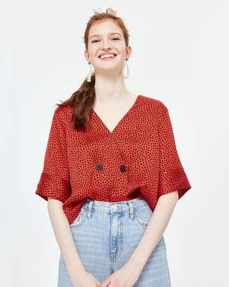 Topshop Spot Animal Tie Back Blouse