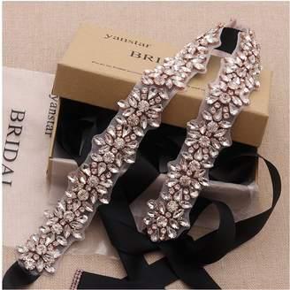 yanstar Rose Gold Crystal Rhinestone Wedding Bridal Belt Sashes with Blush Ribbon for Bridesmaid Dress