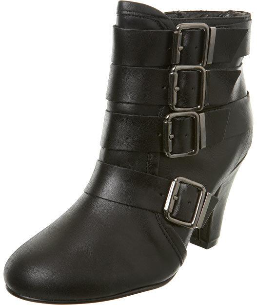 Black Leather Buckle Heel Boot