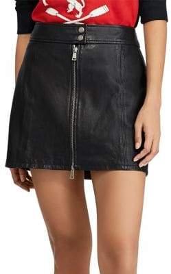 Polo Ralph Lauren A-Line Leather Miniskirt