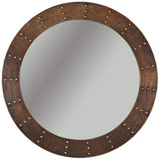 Premier Copper Products 34 Hand Hammered Round Copper Mirror With Hand Forged Rivets