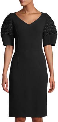 Oscar de la Renta Crochet Balloon-Sleeve Stretch-Wool Dress