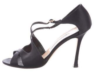Manolo Blahnik Satin Ankle-Strap Pumps