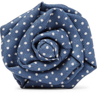 Charvet Pin-Dot Silk-Faille Flower Lapel Pin