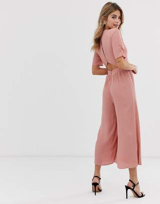 Asos Design DESIGN tea jumpsuit with ruched sleeve detail