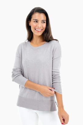 White + Warren High-Slit Crewneck Sweater