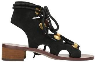 See by Chloe Edna Black Suede Gladiator Sandals