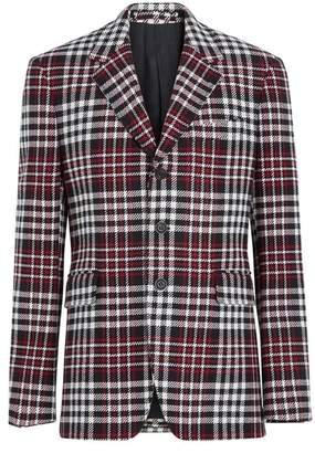 Burberry Slim Fit Tartan Technical Wool Tailored Jacket
