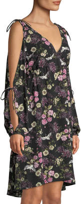 Kensie Floral-Print Cranes Cold-Shoulder Shift Dress