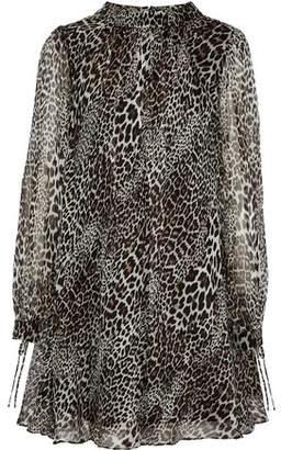 Badgley Mischka Leopard-Print Silk-Chiffon Mini Dress