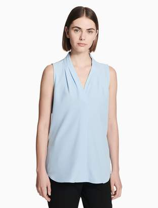 Calvin Klein v-neck inverted pleat sleeveless blouse