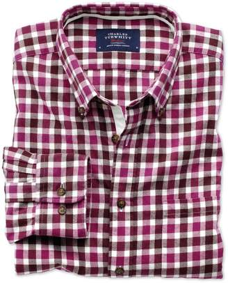 Charles Tyrwhitt Slim Fit Berry Check Brushed Dobby Cotton Casual Shirt Single Cuff Size XS