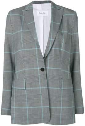 Calvin Klein plaid fitted blazer