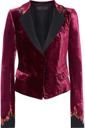 Haider Ackermann Satin-Trimmed Embroidered Velvet Blazer