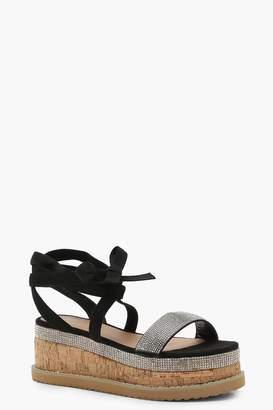 boohoo Diamante Flatform Espadrille Tie Up Sandals