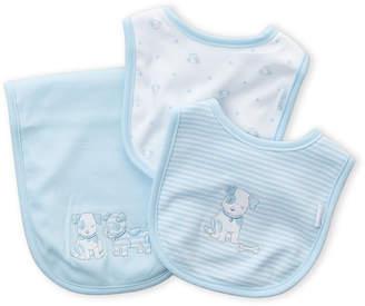 Little Me Newborn Boys) 3-Piece Puppy Bibs & Receiving Blanket Set