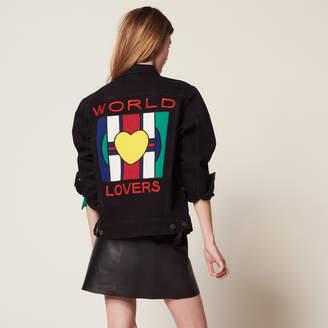 Sandro Boyfriend fit denim jacket with patch
