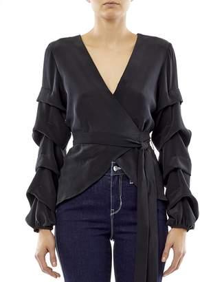 Nicole Miller Solid Silk Tidal Pleat Wrap Top