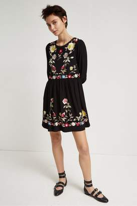 French Connection Saya Crepe Embroidered Flared Dress