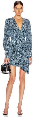 Les Rêveries Mini Wrap Dress in Blue Leopard | FWRD