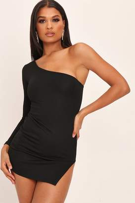 a583f0fdb I SAW IT FIRST Black One Shoulder Extreme Split Mini Dress