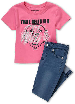 True Religion Girls 4-6x) Two-Piece Graphic Short Sleeve Tee & Jeans Set