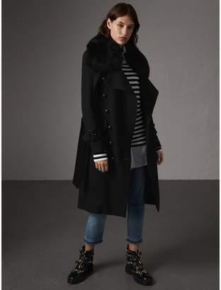 Burberry Detachable Fox Fur Collar Wool Blend Trench Coat